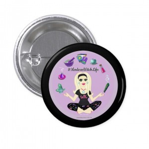 Allie Stars #ModernWitch Life Black 1 in. Button
