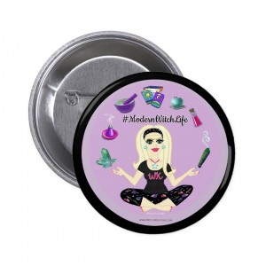 Allie Stars #ModernWitch Life Black 2 in. Button