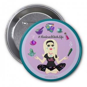 Allie Stars #ModernWitch Life Teal 3 in. Button