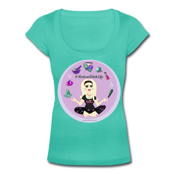 Allie Stars & Witchy Tools #ModernWitchLife - Scoop Neck T-shirt Teal