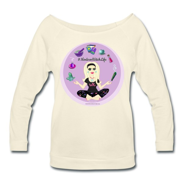 Allie Stars & Witchy Tools #ModernWitchLife - Wide Neck 3/4 Sleeve T-shirt Ivory