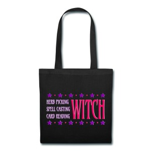 Herb Picking, Spell Casting, Card Reading WITCH - Canvas Tote Black