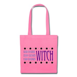 Herb Picking, Spell Casting, Card Reading WITCH - Canvas Tote Pink