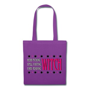 Herb Picking, Spell Casting, Card Reading WITCH - Canvas Tote Purple