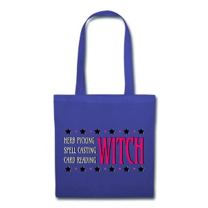 Herb Picking, Spell Casting, Card Reading WITCH - Canvas Tote Royal Blue