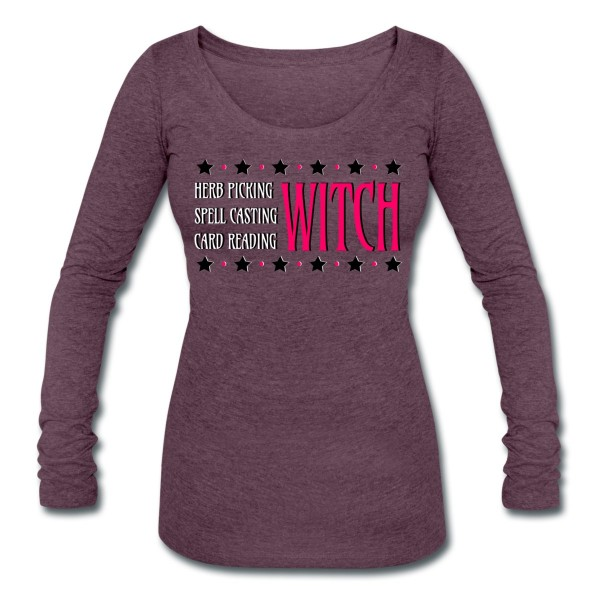 Herb Picking, Spell Casting, Card Reading WITCH - Scoop Neck Long Sleeve Purple