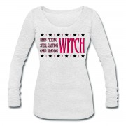 Herb Picking, Spell Casting, Card Reading WITCH - Scoop Neck Long Sleeve White