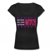 Herb Picking, Spell Casting, Card Reading WITCH - Scoop Neck T-shirt Black