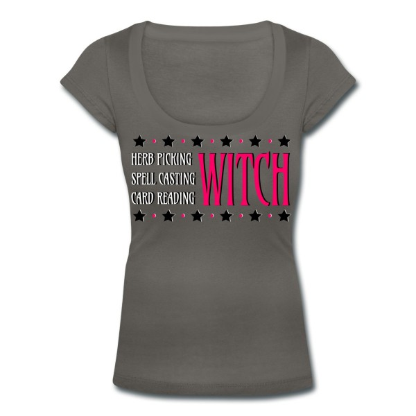 Herb Picking, Spell Casting, Card Reading WITCH - Scoop Neck T-shirt Grey