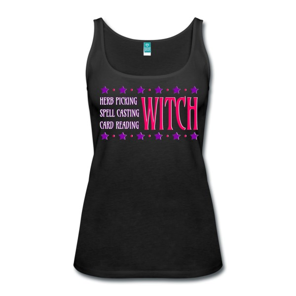 Herb Picking, Spell Casting, Card Reading WITCH - Scoop Neck Tank Black