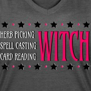Herb Picking, Spell Casting, Card Reading WITCH - V-Neck T-shirt Deep Heather Gray