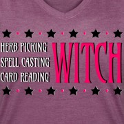 Herb Picking, Spell Casting, Card Reading WITCH - V-Neck T-shirt Plum