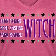 Herb Picking, Spell Casting, Card Reading WITCH - V-Neck T-shirt Rose Pink