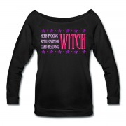 Herb Picking, Spell Casting, Card Reading WITCH - Wide Neck 3/4 Sleeve T-shirt Black