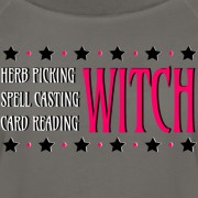 Herb Picking, Spell Casting, Card Reading WITCH - Wide Neck 3/4 Sleeve T-shirt Dark Grey