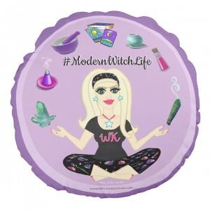Round Allie Stars #ModernWitchLife Throw Pillow Purple