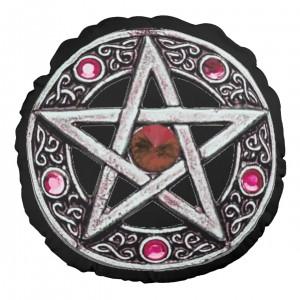 Round Silver & Hot Pink Pentagram Throw Pillow