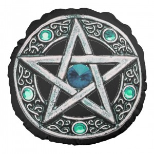 Round Silver & Turquoise Pentagram Throw Pillow