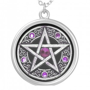 Silver, Purple & Black Pentagram Charm Necklace