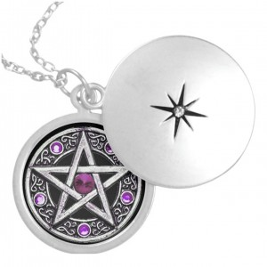 Silver, Purple & Black Pentagram Locket Necklace