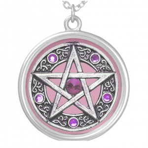 Silver, Purple & Pink Pentagram Charm Necklace