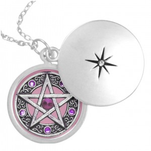 Silver, Purple & Pink Pentagram Locket Necklace