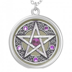 Silver, Purple & Taupe Pentagram Charm Necklace