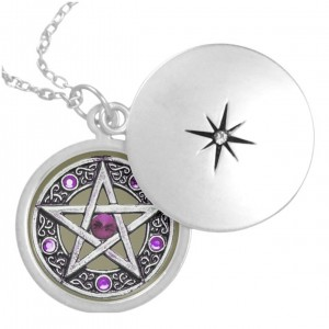 Silver, Purple & Taupe Pentagram Locket Necklace