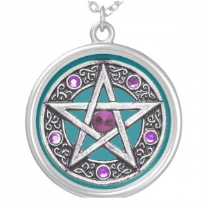 Silver, Purple & Teal Pentagram Charm Necklace