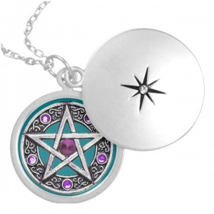 Silver, Purple & Teal Pentagram Locket Necklace