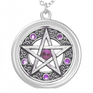 Silver, Purple & White Pentagram Charm Necklace