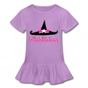Witch Hat Witchilicious - Girl's Ruffle Hem T-shirt Lavender