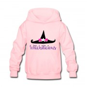 Witch Hat Witchilicious - Kid's Long Sleeve Hoodie Sweatshirt Light Pink