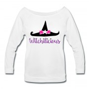 Witch Hat Witchilicious - Wide Neck 3/4 Sleeve T-shirt White