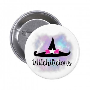 Witchilicious & WK Witchy Hat White 2 in. Button