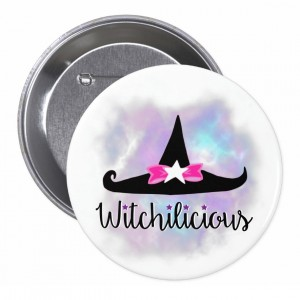 Witchilicious & WK Witchy Hat White 3 in. Button