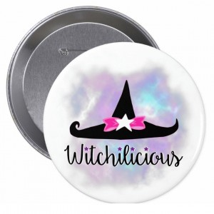 Witchilicious & WK Witchy Hat White 4 in. Button