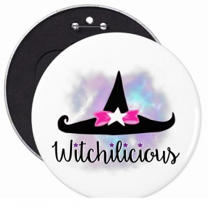 Witchilicious & WK Witchy Hat White 6 in. Button