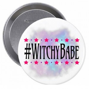#WitchyBabe White 4 in. Button