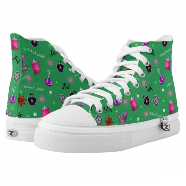WK #ModernWitchLife Green High Top Printed Shoes