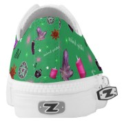 WK #ModernWitchLife Green Low Top Printed Shoes