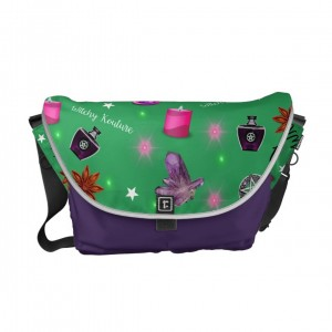 WK #ModernWitchLife Green Print Overnight Bag