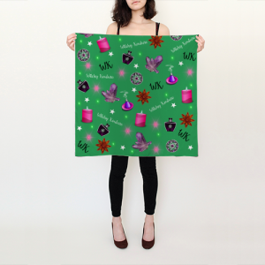WK #ModernWitchLife Green Print Square Scarf