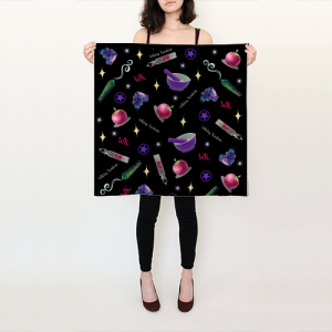 WK #ModernWitchLife Black Print Square Scarf