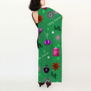 WK #ModernWitchLife Green Print Long Scarf