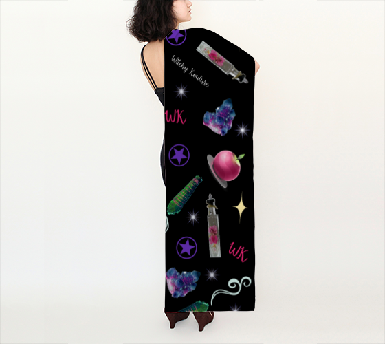 WK #ModernWitchLife Black Print Long Scarf