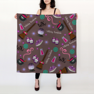 WK #ModernWitchLife Taupe Print Big Square Silk Scarf