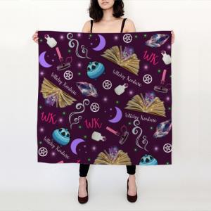 WK #ModernWitchLife Purple Print Big Square Silk Scarf