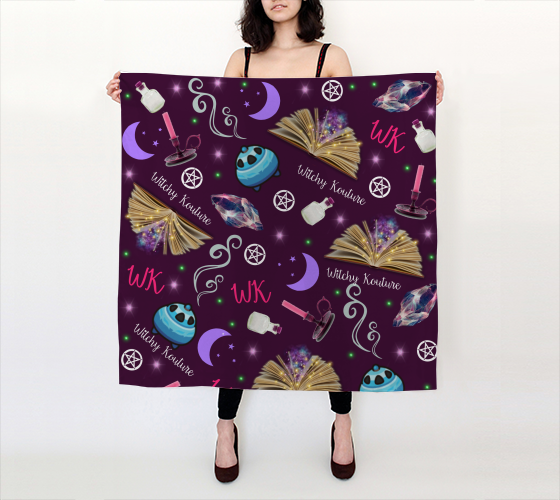 WK #ModernWitchLife Purple Print Big Square Silk Scarf