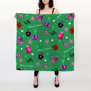 WK #ModernWitchLife Green Print Big Square Silk Scarf